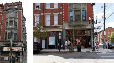 1237 Vine in 2004 and today as The Lackman Bar. photo credit (L-R): 3CDC and 5chw4r7z
