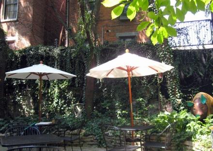 Iris Book Cafe's courtyard